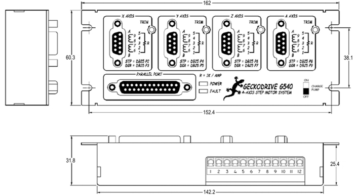 размеры контроллера G540